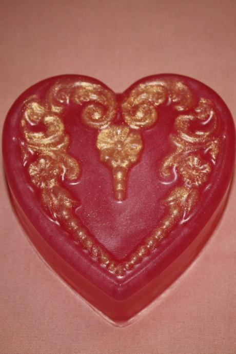 Victorian Heart Soap with silk